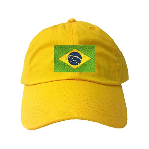 Go All Out Adjustable Yellow Adult Brazil Flag Embroidered Dad Hat