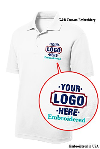 Custom Shirt. Custom Embroidered Polo Shirt. (XL, White)