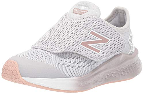 New Balance Girls' Fast V1 Fresh Foam Running Shoe, Summer Fog/Champagne Metallic Hook and Loop Closure, 3 M US Infant