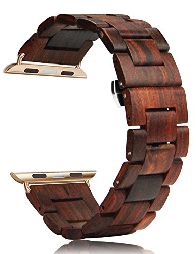 Price comparison product image Apple Watch Band iWatch Band 42mm Handmade Wooden Bracelet with Watch Repair Tool Kit (Red Sandalwood)