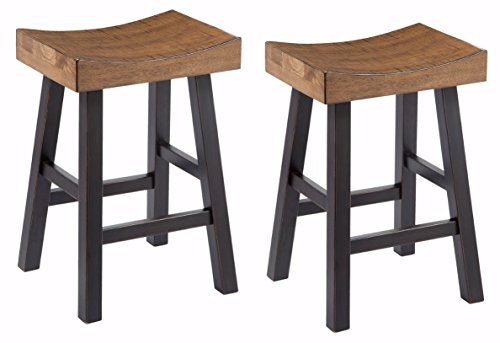 Ashley Furniture Signature Design - Vintage Casual Barstool - Counter Height - Set of 2 - Two-tone Brown Top With Black Base