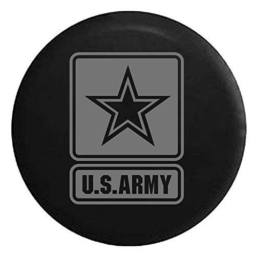 US Army Military Soliders Spare Jeep Wrangler Camper SUV Tire Cover Gray Ink 33 in