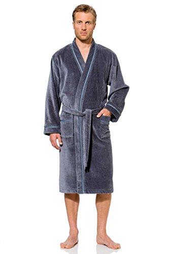 Bugatti, Herren - Bademantel lang, Gr. L, Kimonokragen , Größen: S bis XXL verfügbar, Farbe grau, Morgenmantel, 100 % Baumwolle