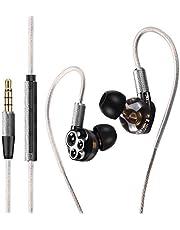 HiFi Walker A6 Triple Driver Auriculares intrauditivos Auriculares de Alta resolución, Bajos estéreo y Sonido de Cristal, micrófono y Control Remoto en línea con Control de Volumen