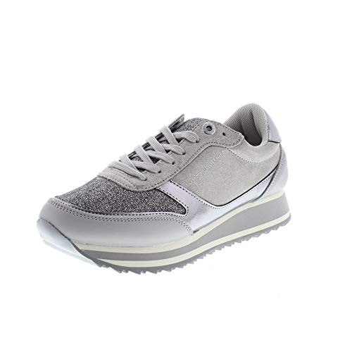 Gris Metallic Hilfiger Runner Retro Tommy Femmes Baskets Y8qPpw