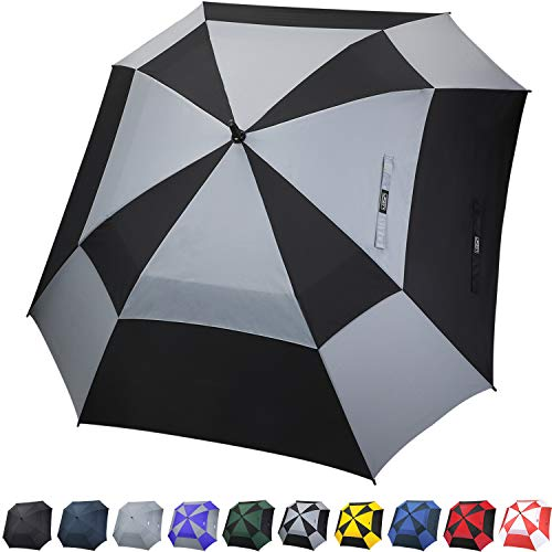 G4Free Extra Large Square Golf Umbrella 62 Inch Oversize Double Canopy Vented Umbrella Windproof Automatic Open Stick Umbrellas for Men -