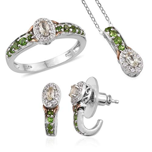 14k Diopside Ring - Turkizite, Russian Diopside, White Zircon 14K RG/Platinum O/Sterling Silver Trio KS-445