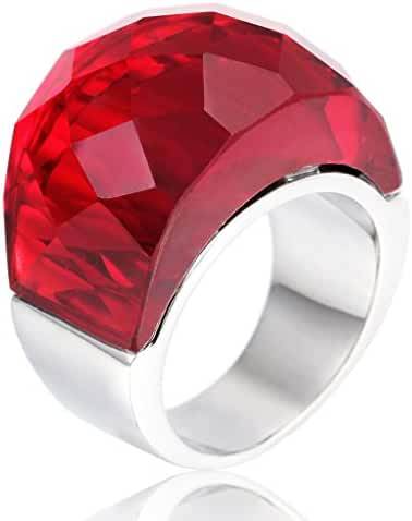 MASOP Silver Tone Stainless Steel Statement Rings for Women Large Red Big Stone