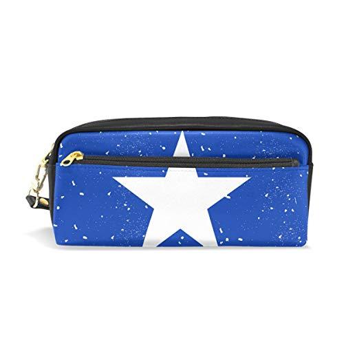Somalia Flag Star Vintage Blue PU Leather Pen Pencil Case Pouch Case Cosmetic Bag Zipper Storage Bag Portable Coin Purse Travel Makeup Bag
