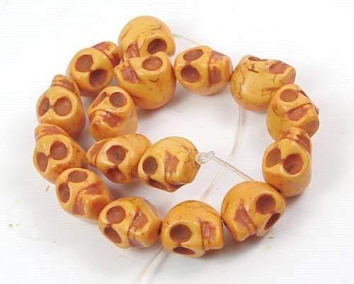 ShopForAllYou Decoration Beads 12mm Small Orange Turquoise Skull Beads Halloween (16) ()