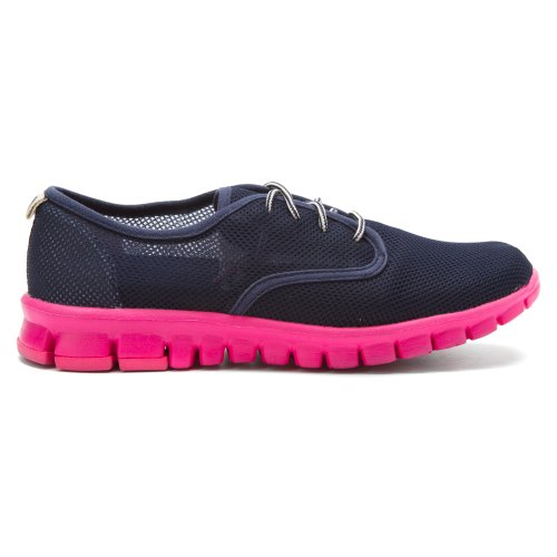 NoSox Womens Winkle Ladies Oxford Navy/Pink 7ZhhWCr
