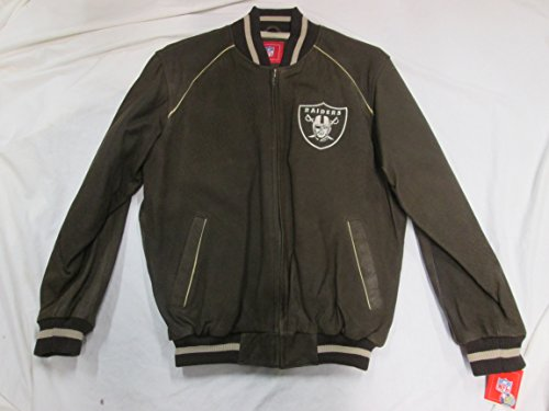 Oakland Raiders Mens X-Large Embroidered Full Zip Execuitve Leather Jacket ARAD 1 XL by G-III Sports