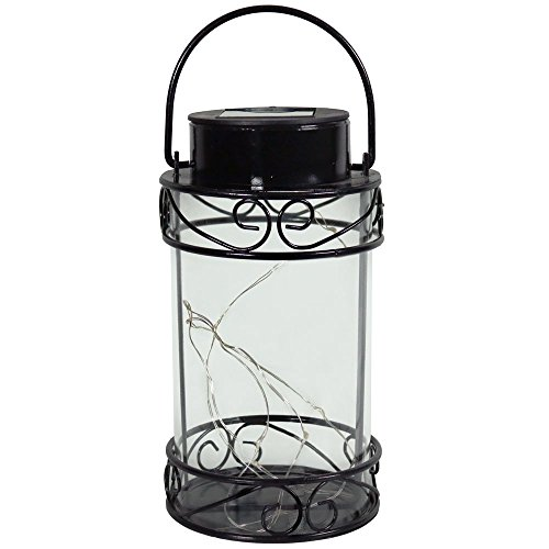 Sunnydaze Outdoor Solar Lantern, Hanging LED Garden String Lights, Decorative Scroll Design, Warm White