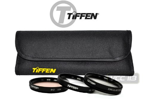 Tiffen 58mm Photo Essentials Kit with UV Protector, 812 Color Warming, Circular Polarizing Glass Filters and 4 Pocket Pouch