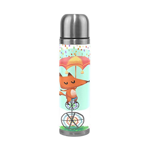 ALAZA 17 oz Cute Fox Bicycle Polka Dots Double Wall Vacuum Cup Insulated Stainless Steel PU Leather Travel Mug, Christmas Birthday Gifts for Mom Dad Boys Girls Kids Lover Friends by ALAZA