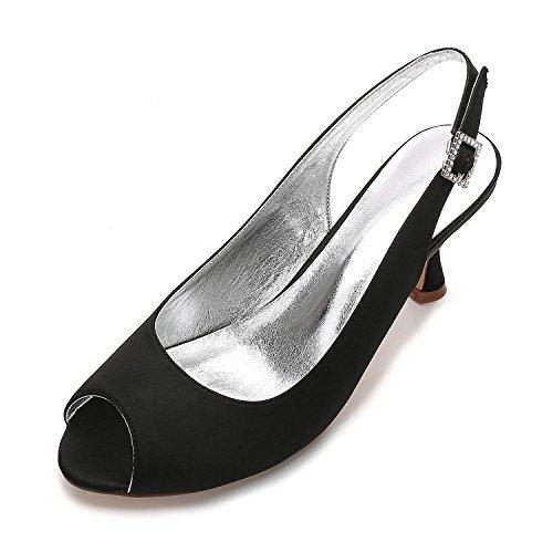 Marfil Boda yc L Black Dama T17061 Jane 3 17 Mujer Style Nupcial Peep Zapatos 8 Tacón Honor Para Satén Toe Bajo De q05wBr5d