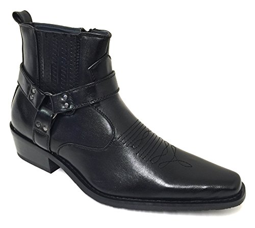 Alberto Fellini W1TCJ Men's Cowboy Boots Western Ankle Harness Leather Lining Side Zipper Shoes