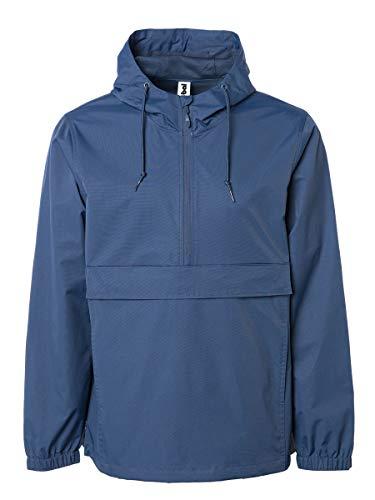 (Global Blank Mens Hooded Windbreaker Raincoat Waterproof Anorak Navy Blue Medium)