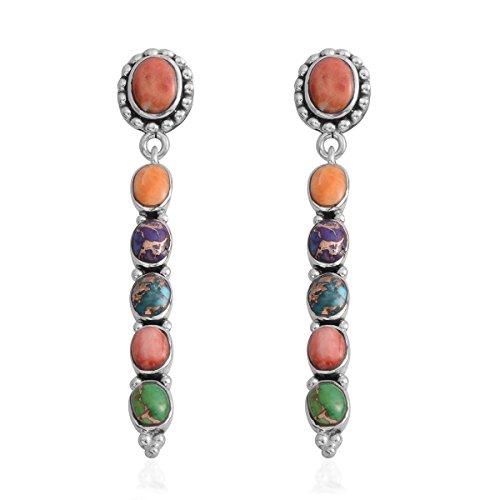 925 Sterling Silver Oval Purple Turquoise Southwest Jewelry Drop Dangle Earrings for Women