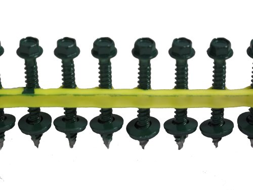 QuikDrive HG112WSDKGREEN Metal Roofing and Siding Screw, ...