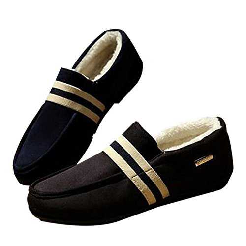 Hzjundasi Men Casual Flat Loafers Fashion Slip On Driving Shoes Slippers Black 2 h5ww6O