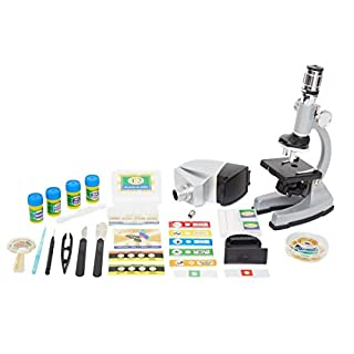 EB Trading LLC Microscope Kit with Metal Arm and Base, 6 Magnifications from 50x to 1200x, Includes 86-Piece Accessory Set and Case (5 Bonus Animal/Plant Sides) (86 - Piece Accessory Set)
