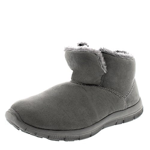 Mettiti In Forma Scarpe Da Donna Calde In Pelliccia Con Slip On Casual Casual Da Caviglia Sneakers Basse Grigio
