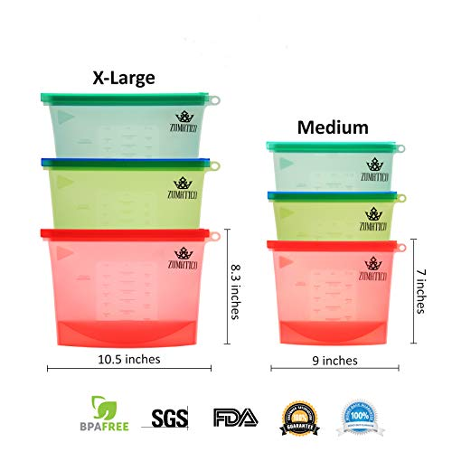 :6 Pack Silicone Food Storage Bags | Reusable Food Bags | Reusable Silicone Bags for Snacks, Cooking, Storage | Best Reusable Freezer Bags by Zumatico. FDA and SGS Approved. BPA-FREE.