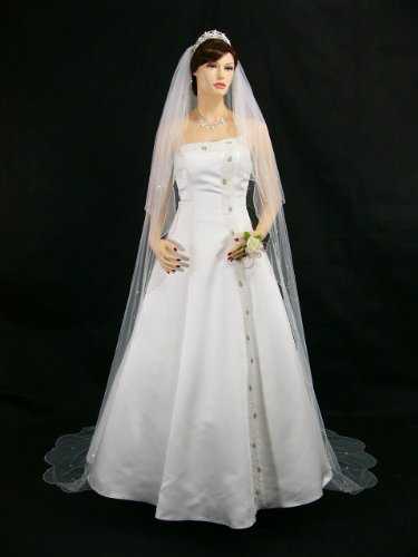 2T 2 Tier White Bridal Cathedral Length Scalloped Motifs Beaded Edge Wedding Veil