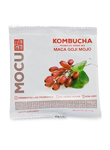 MOCU Kombucha Probiotic Drink Mix, Maca Goji Mojo - No Sugar Added - 12 Count (Powdered Health Drink)