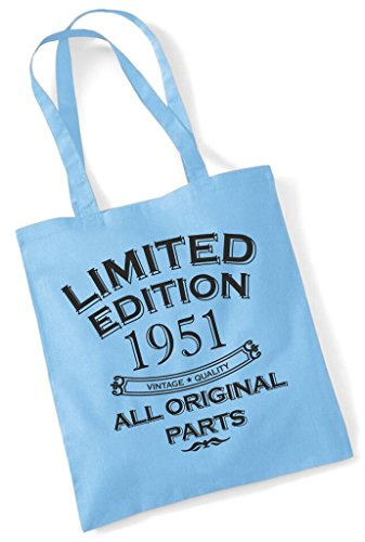 All Original Fun Shopping Year Tote Birthday Edition Sky 1951 Present Limited Gift Bag Blue Cotton Parts q7xRPqpr