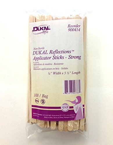 DUKAL Reflections Wax-Body Treatment Applicator Sticks (1/4Width x 5 1/2Length) - 100 count by Dukal
