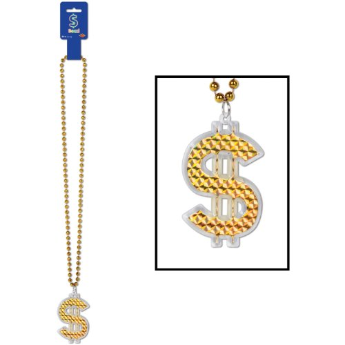Beads w/ $ Medallion Party Accessory (1 count) (1/Card)