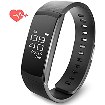 Fitness Activity Tracker Smart Watch Heart Rate Band Sports Bracelet Wristband Calorie Step Distance Counter Sleep Health Call Reminder IPX67 Water Resistant