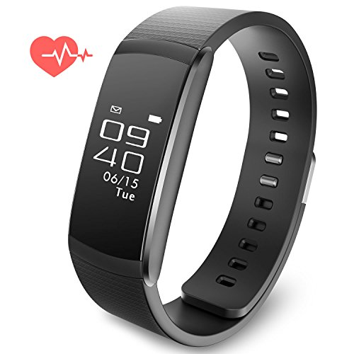 Fitness Activity Tracker Smart Watch Heart Rate Band Sports Bracelet Wristband Calorie Step Distance Counter Sleep Health Call Reminder IPX67 Water Resistant by Alisten
