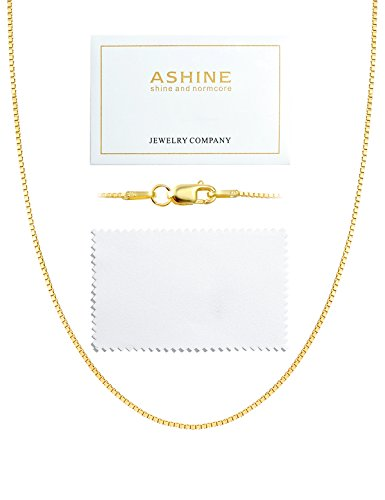 ASHINE 20 Inches 925 Sterling Silver 18K Gold Plated 1mm Box Chain Necklace Solid Nickle-Free Necklace for Women Lobster Clasp Chain with Silver Polishing Cloth