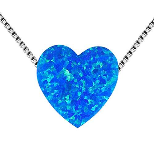 Aurora Tears Blue Heart Necklaces Women Love Opal Pendants Girls Dating Gift Charm Jewelry -