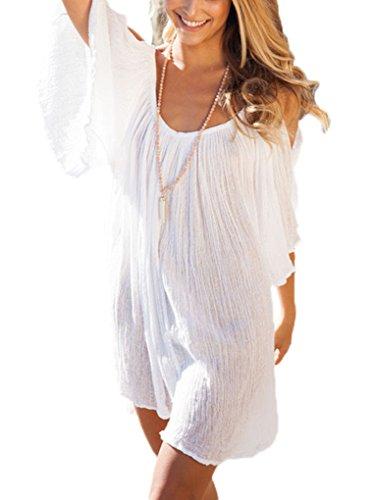 PAKULA Women's Off Shoulder Flare Sleeve Swimwear Cover Up Loose Dress White X-Large