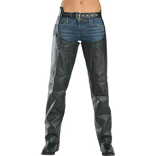 Xelement 7553 Women's Black Advanced Dual Comfort Leather Chaps - 2