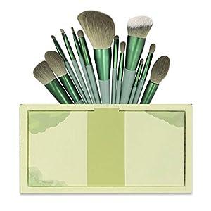 メイクブラシ 13本 グリーン メイクブラシセット 化粧筆 高級繊維毛