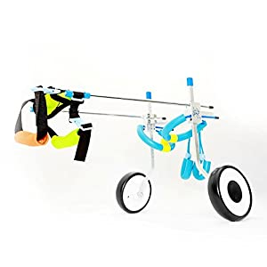 ExGizmo Adjustable Dog Wheelchair, Hind Leg Rehabilitation for Handicapped Small Dog/Doggie/Puppy 2 Wheels(XS) Click on image for further info.
