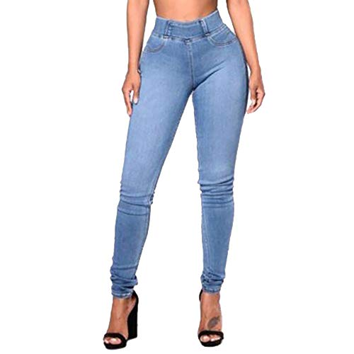 DORIC Wholesale Women Slim Solid Pockets Long Jeans Denim Sexy Skinny Pants Daily Trousers Light Blue