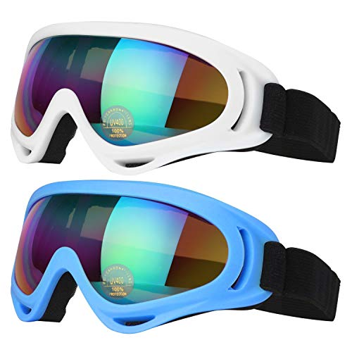 COOLOO-Ski-Goggles-Pack-of-2-Snowboard-Goggles-for-Kids-Boys-Girls-Youth-Men-Women-with-UV-400-Protection-Wind-Resistance-Anti-Glare-Lenses