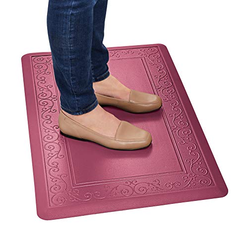 Collections Etc Anti Fatigue Mat with Skid-Resistant Back, Made of Faux Leather with Scroll Border Design - Easy to Clean Rugs for Kitchen and Laundry Room, Red, 20