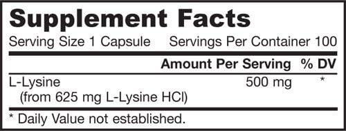 Jarrow Formulas - L-Lysine, 500 mg, 100 capsules