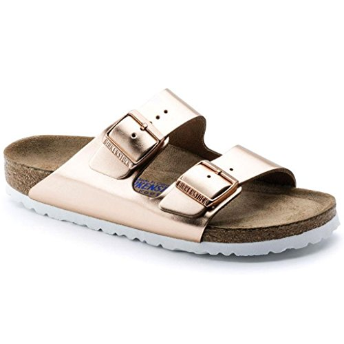 Birkenstock Arizona White Copper Soft Footbed Leather Sandal 39 R (US Women's 8-8.5) by Birkenstock