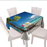 Best Tommy Bahama Beach Boats - longbuyer Seaside Decor Burlap Tablecloth Relaxing Scene on Review