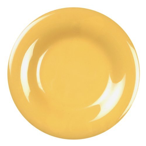Excellanté Yellow Melamine Collection 12-Inch Wide Rim Round Plate, Yellow, - Plate Rim Melamine Round Wide