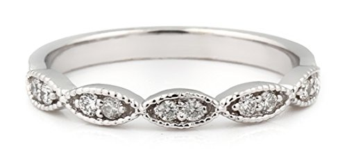 IGI USA Certified 14K White Gold Diamond Art Deco Milgrain Wedding Band (6) ()