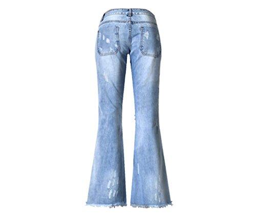 Jeans Denim Femme Longue Evasé Pantalon Yilianda Bleu cFPzvz